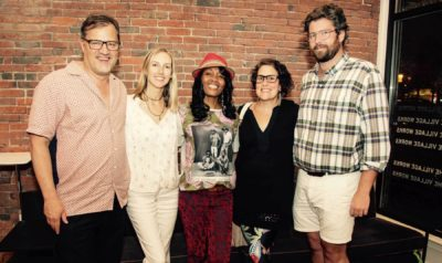 Trevor Smith, Curator of the Present Tense, Milicent Armstrong, Zainab Sumu, Karen Kramer, Curator of Native American and Oceanic Art and Alden Hawkins gather together at the end of the trunk show.
