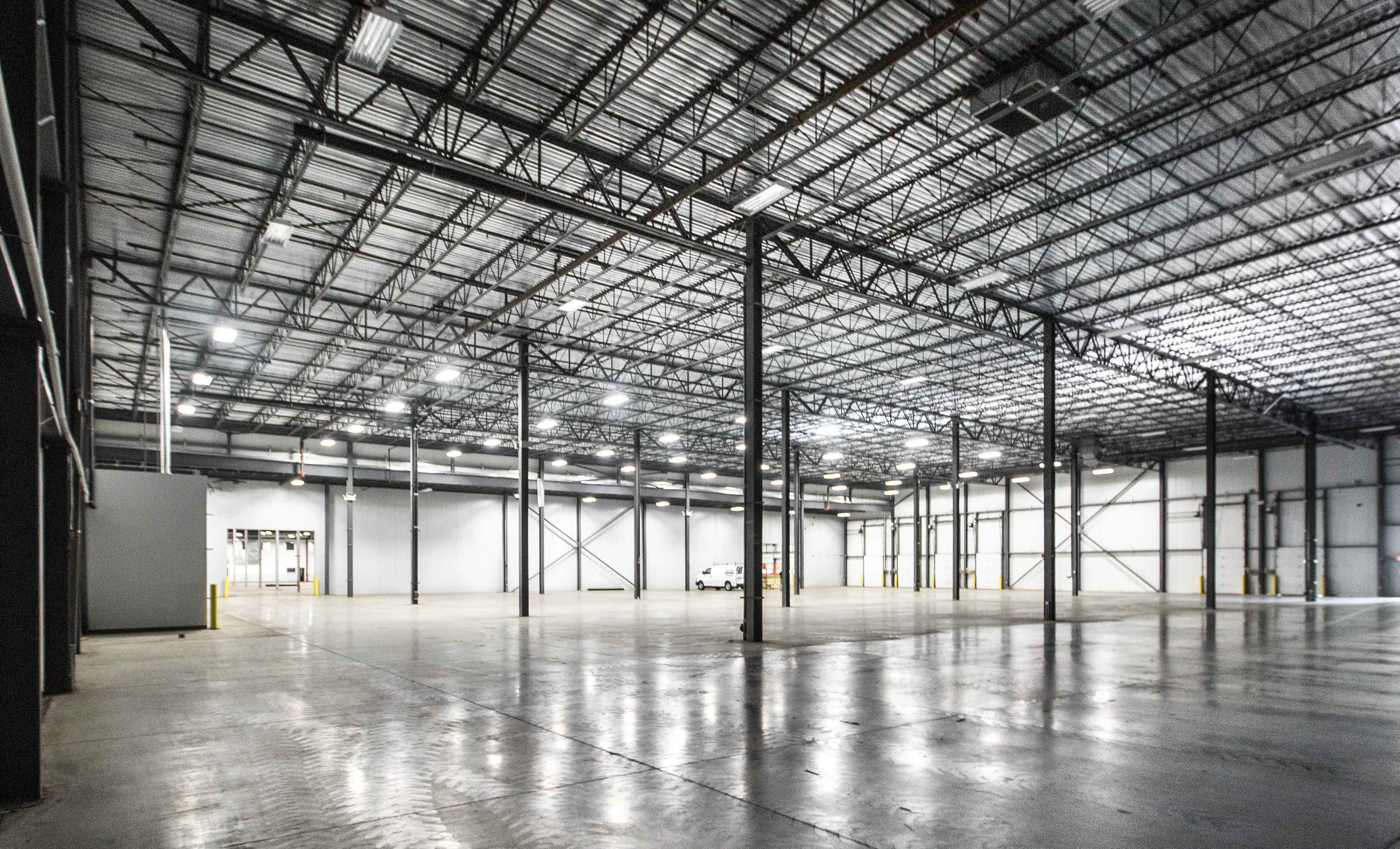 Interior view of a large empty warehouse type space