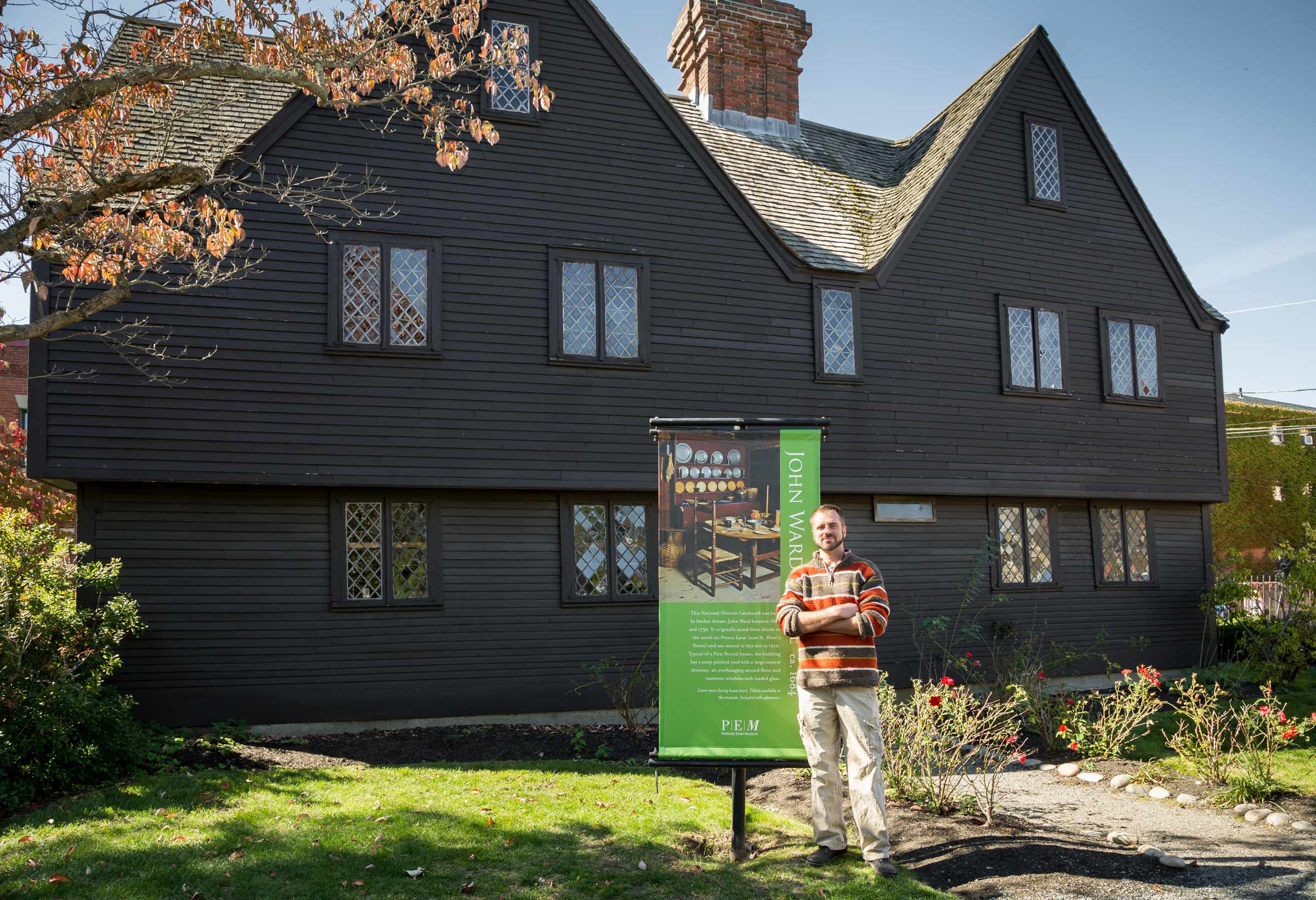 Steven Mallory of the Groundroot Preservation Group in front of the John Ward House. Photo credit Allison White.