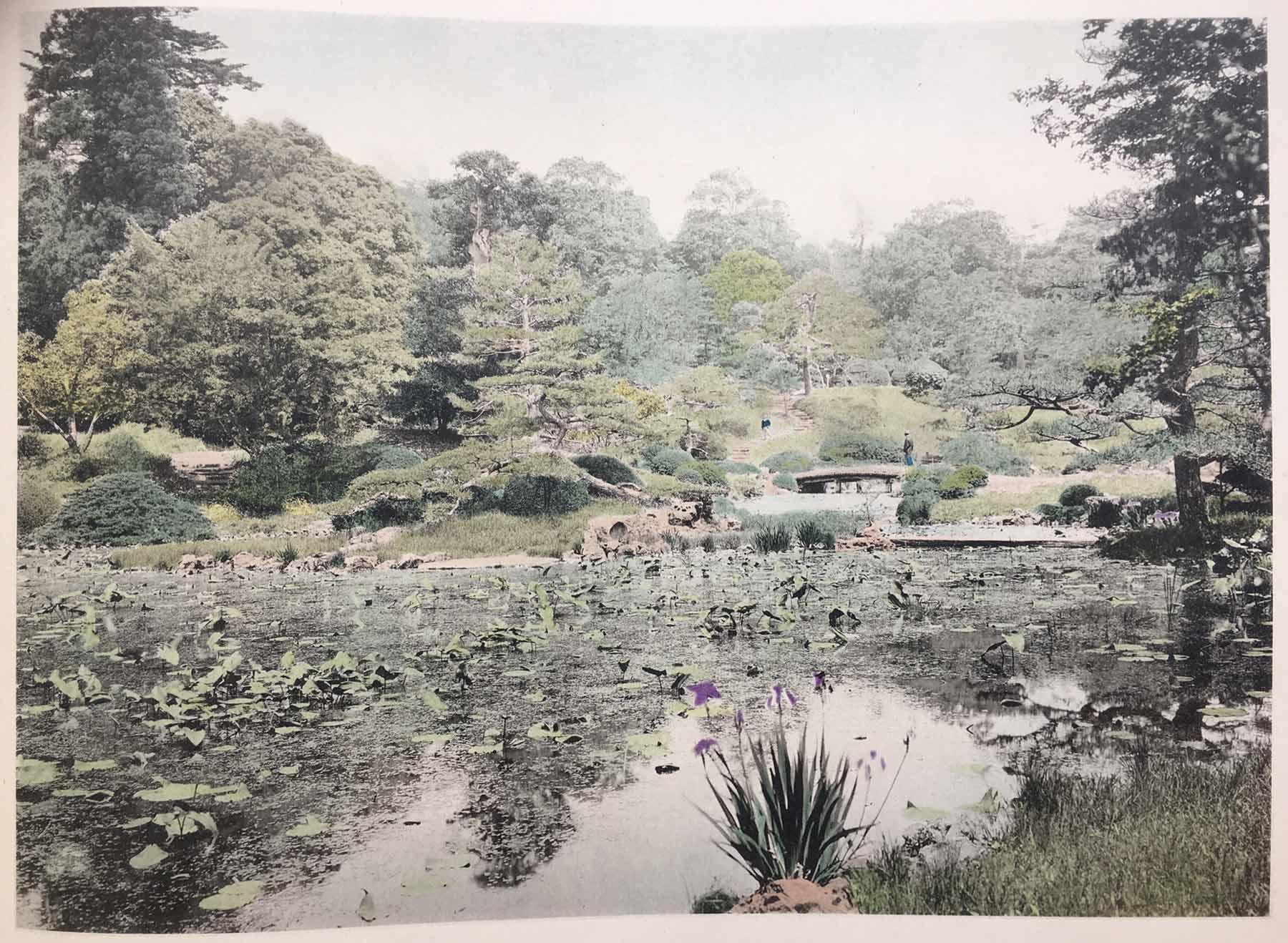 Hand colored illustrations of Japanese villa gardens, late nineteenth century