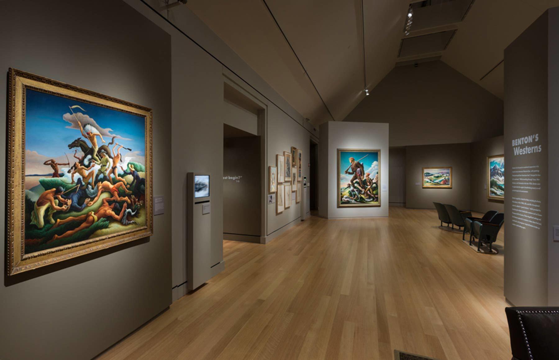 Installation of  'American Epics: Thomas Hart Benton and Hollywood' at PEM