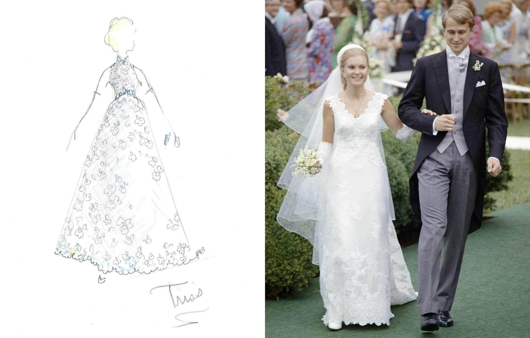 Burbidge's sketch design for Tricia Nixon's wedding gown