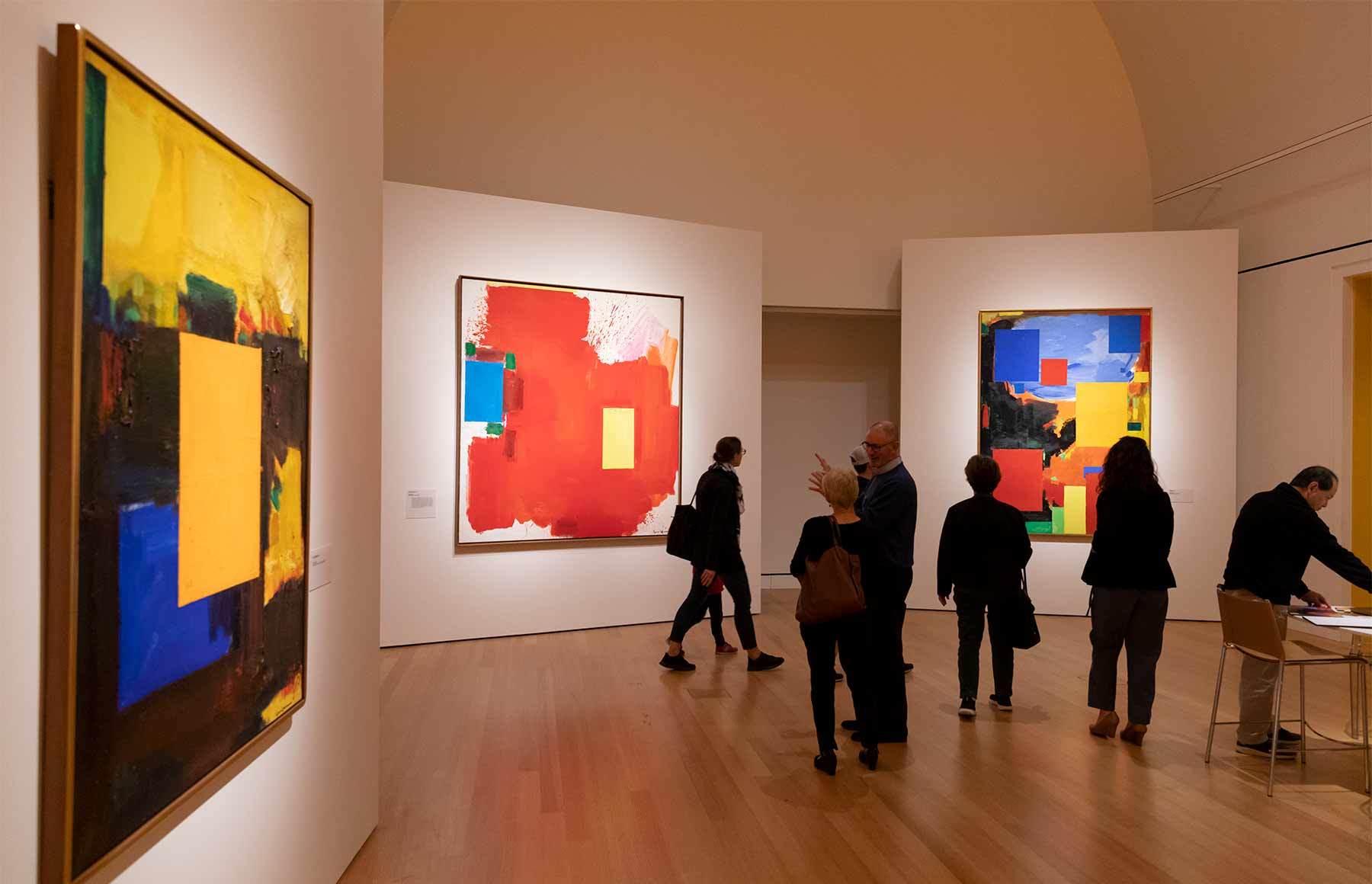 Visitors to the gallery, take in Hofmann paintings