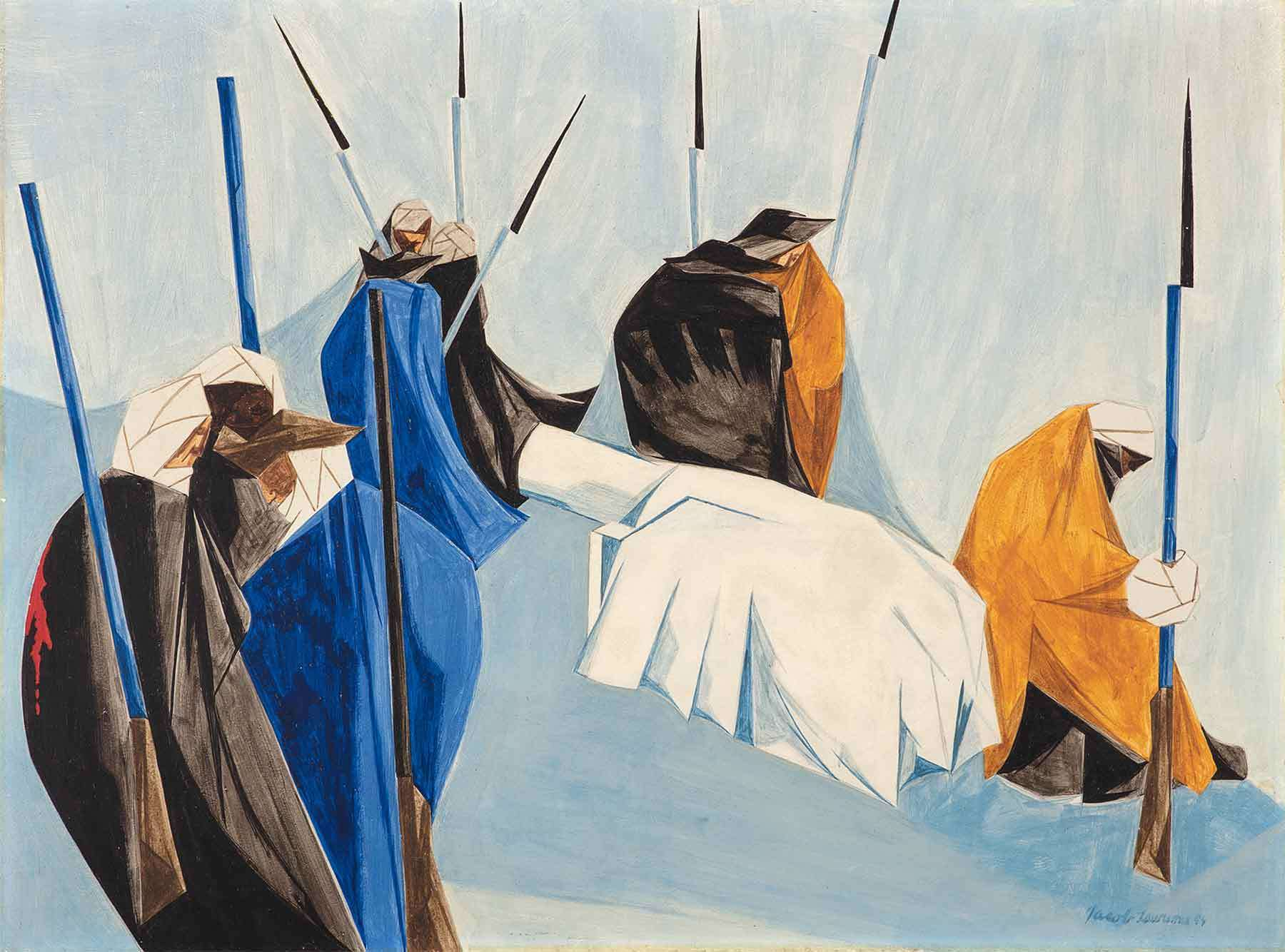 Jacob Lawrence, The summer soldier and the sunshine patriot will, in this crisis, shrink from the service of his country. —Thomas Paine, 1776, Panel 7, 1954, from Struggle: From the History of the American People, 1954