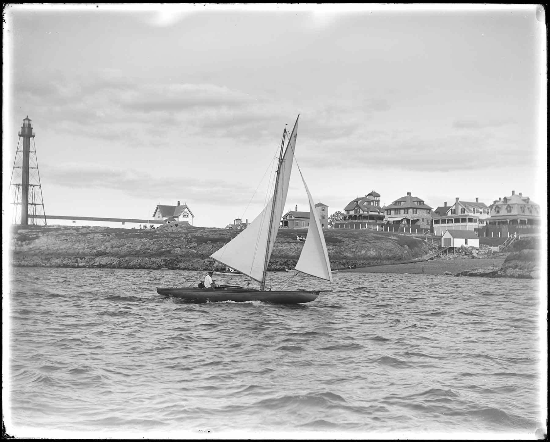 """Boat sailing into Marblehead Harbor past Marblehead light tower,"" Parker Collection"