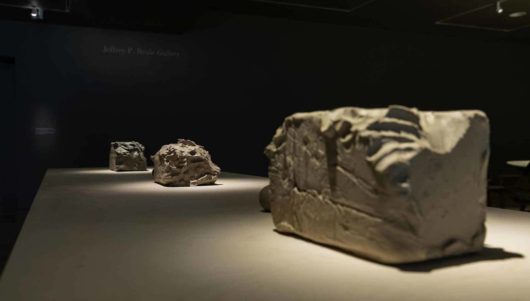 blocks of clay in exhibition