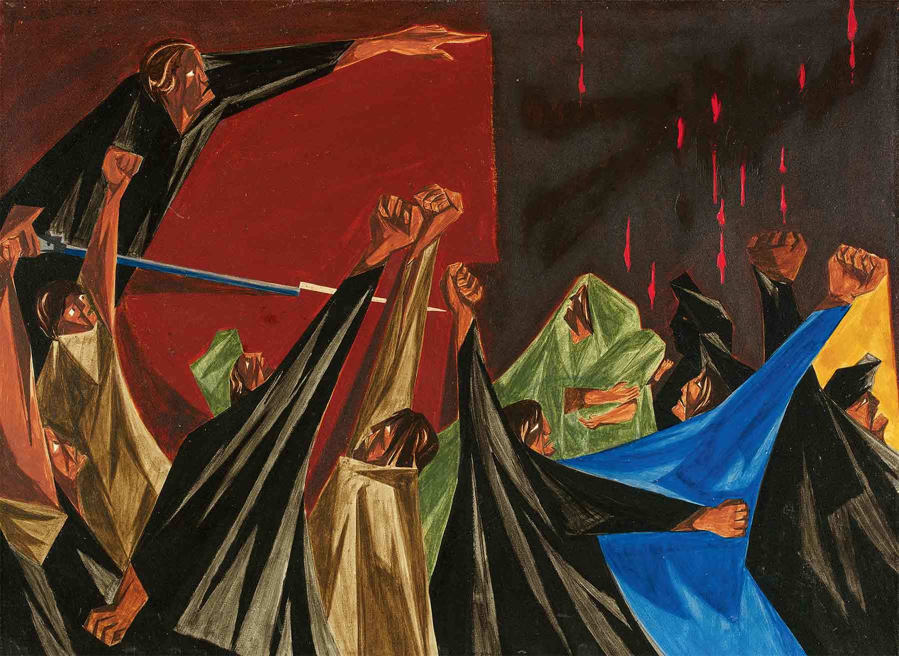 Jacob Lawrence, . . . is life so dear or peace so sweet as to be purchased at the price of chains and slavery? —Patrick Henry, 1775, Panel 1, 1955, from Struggle: From the History of the American People, 1954–56. E