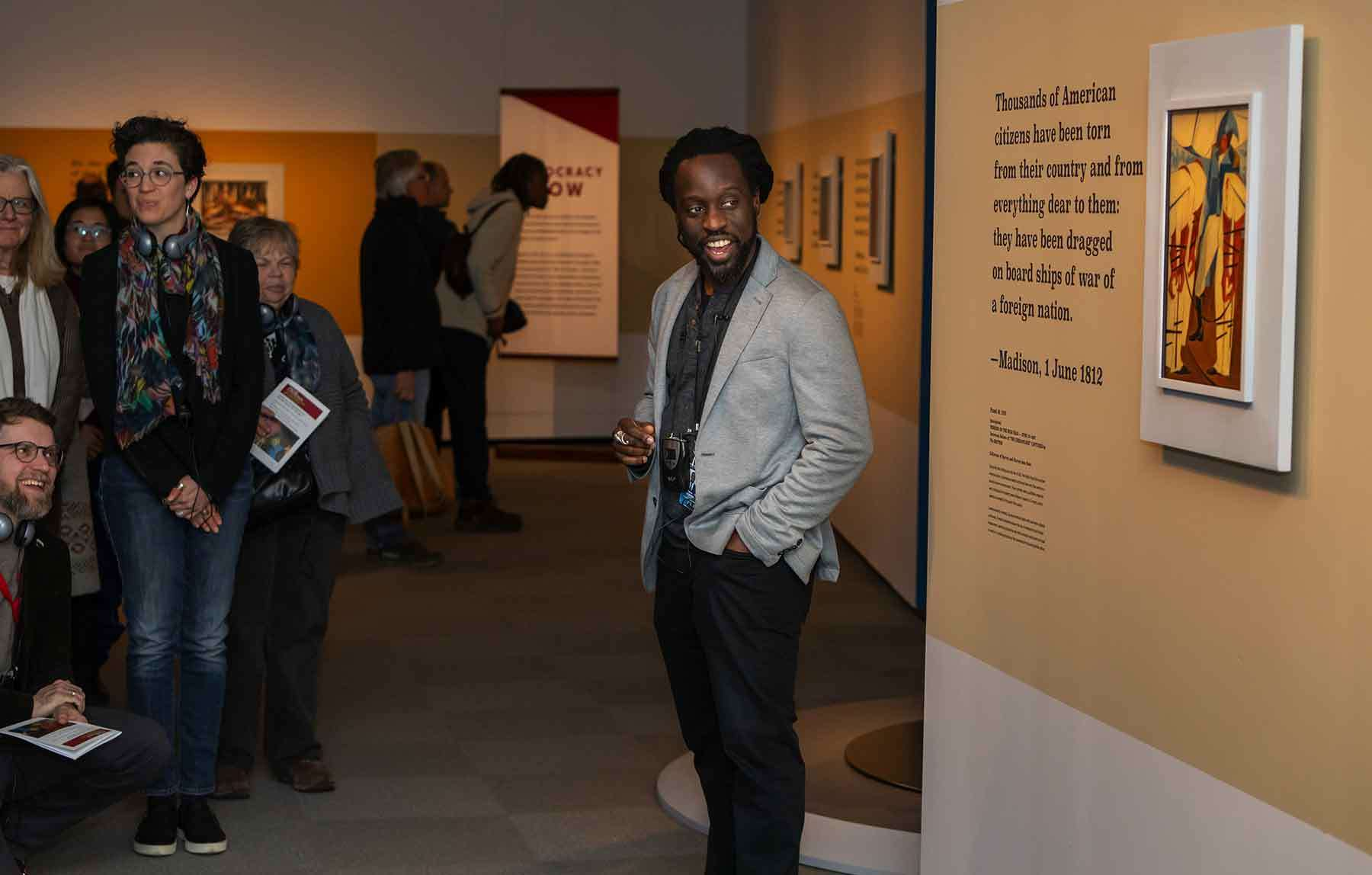 Lev McClain sharing at the listening tour during the opening weekend of Jacob Lawrence: The American Struggle.