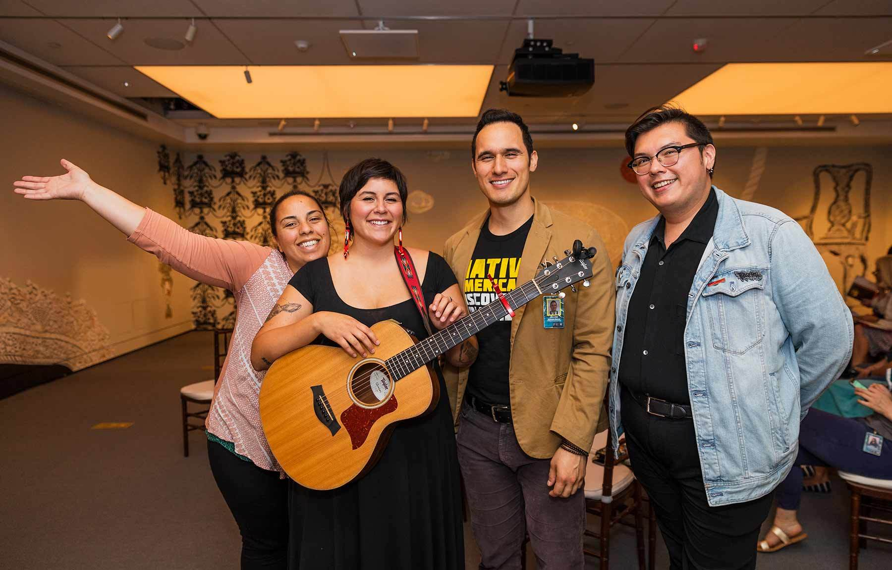 2019 Native American Fellows at the concert: Ashlyn Kuʻuleialoha Weaver, Kalyn Fay Barnoski, Kamuela Werner and Frank Redner