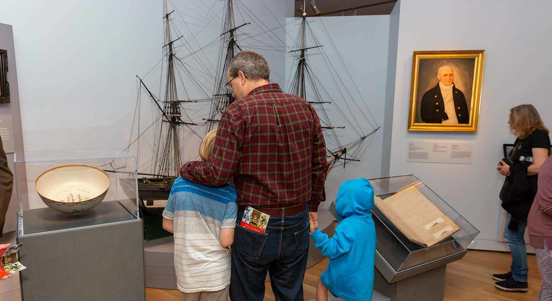 visitors in maritime art gallery