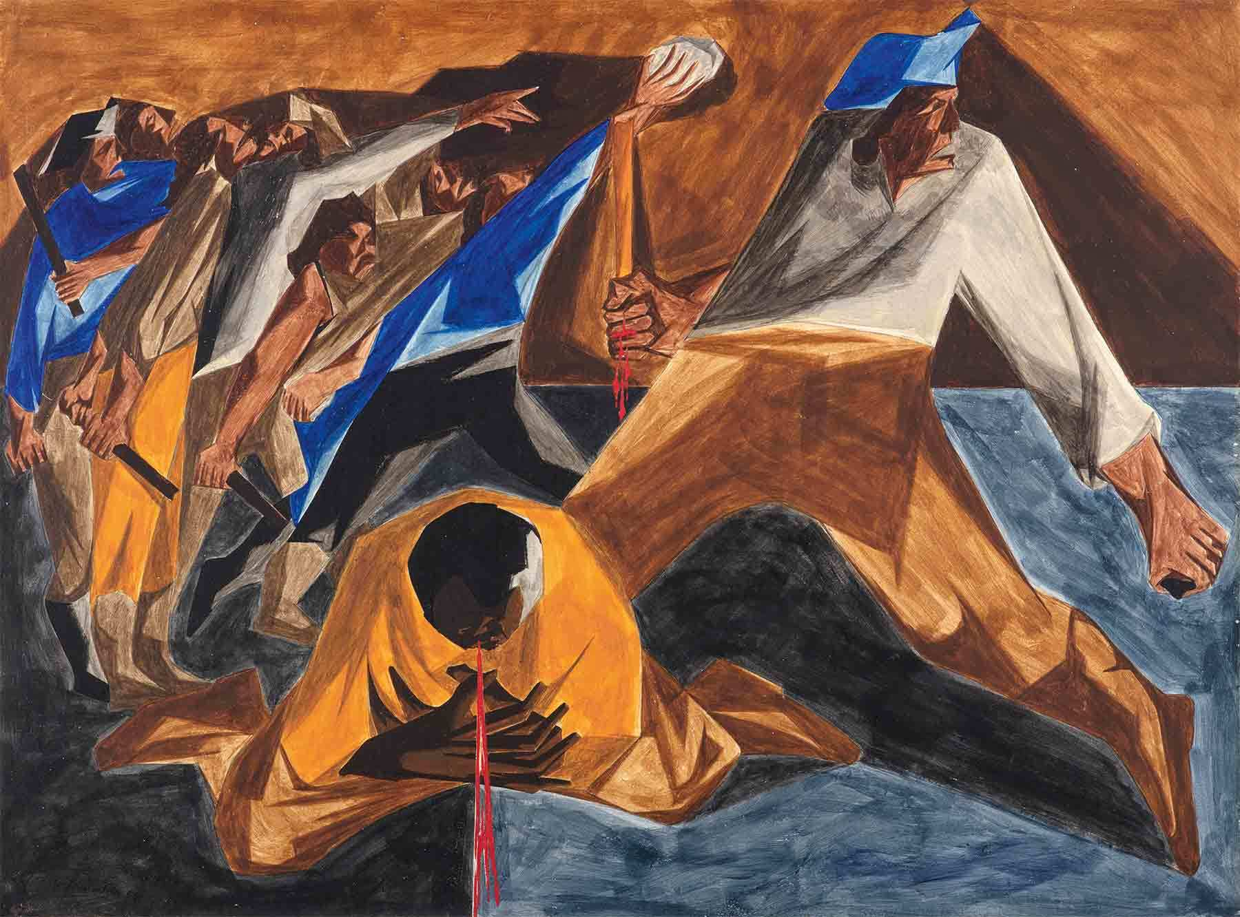Detail of Jacob Lawrence, Massacre in Boston, Panel 2, 1954, from Struggle: From the History of the American People, 1954–56.
