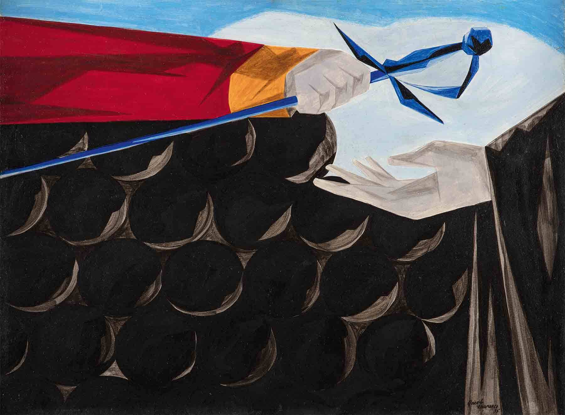 Jacob Lawrence, Victory and Defeat, Panel 13, 1955, from Struggle: From the History of the American People, 1954–56,