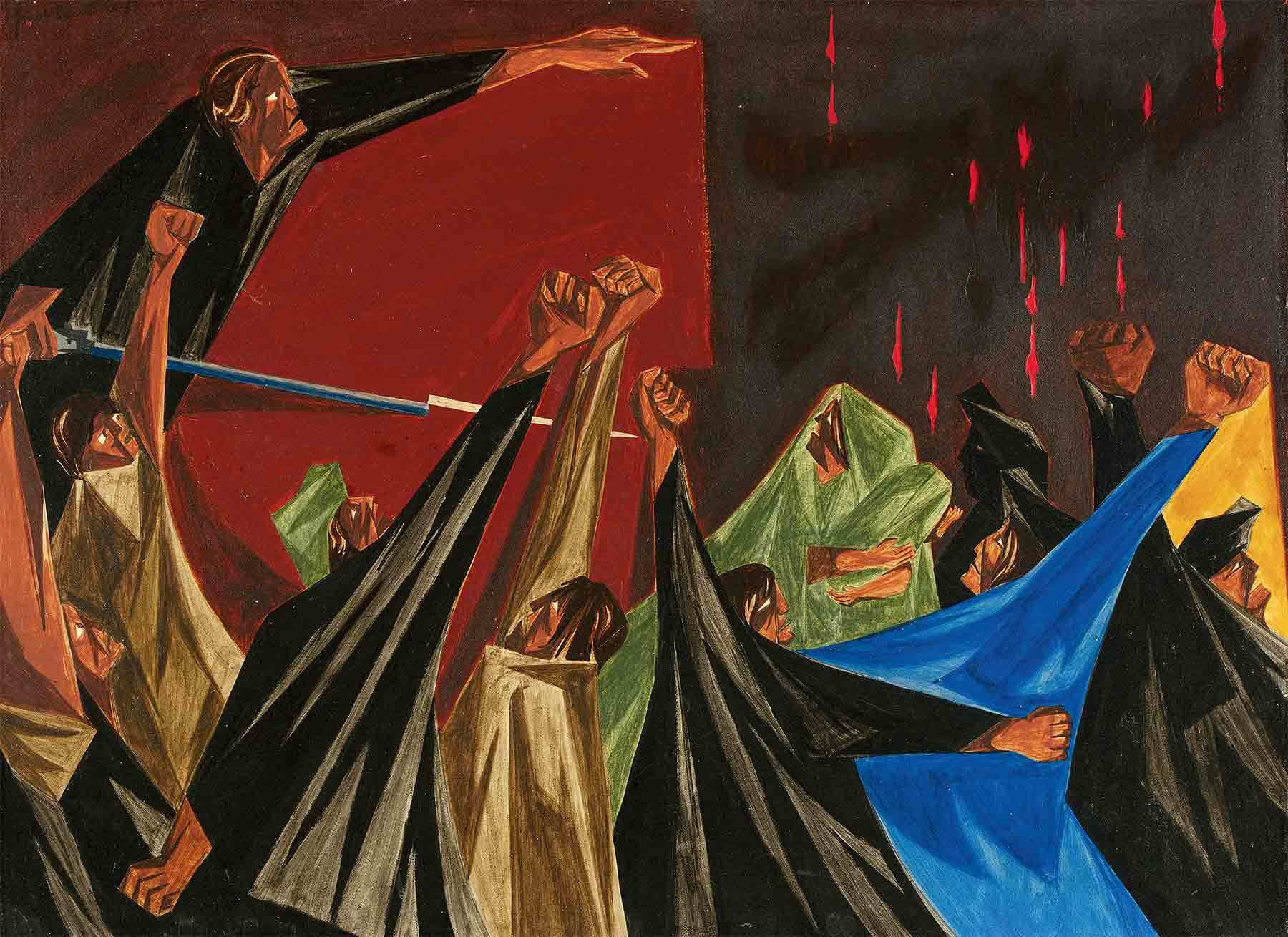 Jacob Lawrence, . . . is life so dear or peace so sweet as to be purchased at the price of chains and slavery? — Patrick Henry, 1775, Panel 1, 1955, from Struggle: From the History of the American People, 1954–56.