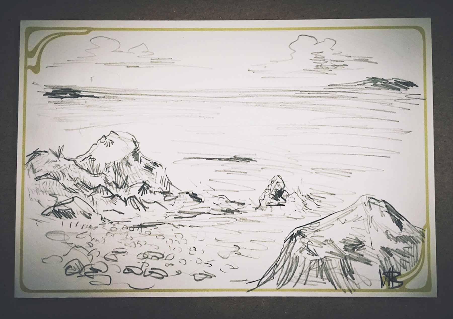 Doodled landscape on postcard left for the scrapbook. Photo by Paige Besse.