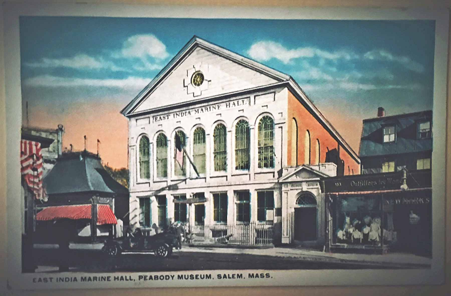 """White Border era (1915-1930) postcard of """"East India Marine Hall, Peabody Museum, Salem, Mass."""" from my personal collection. Photo by Paige Besse."""