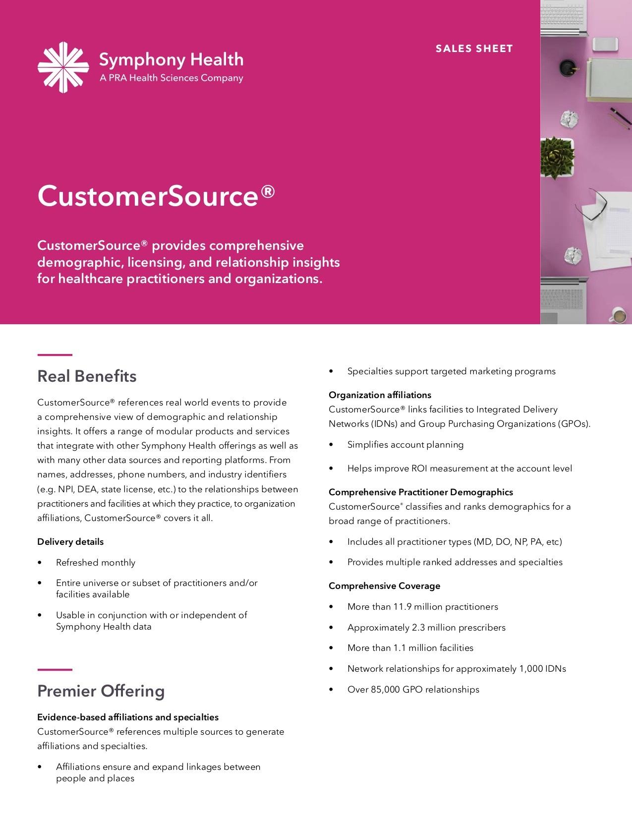 CustomerSource® Sales Sheet