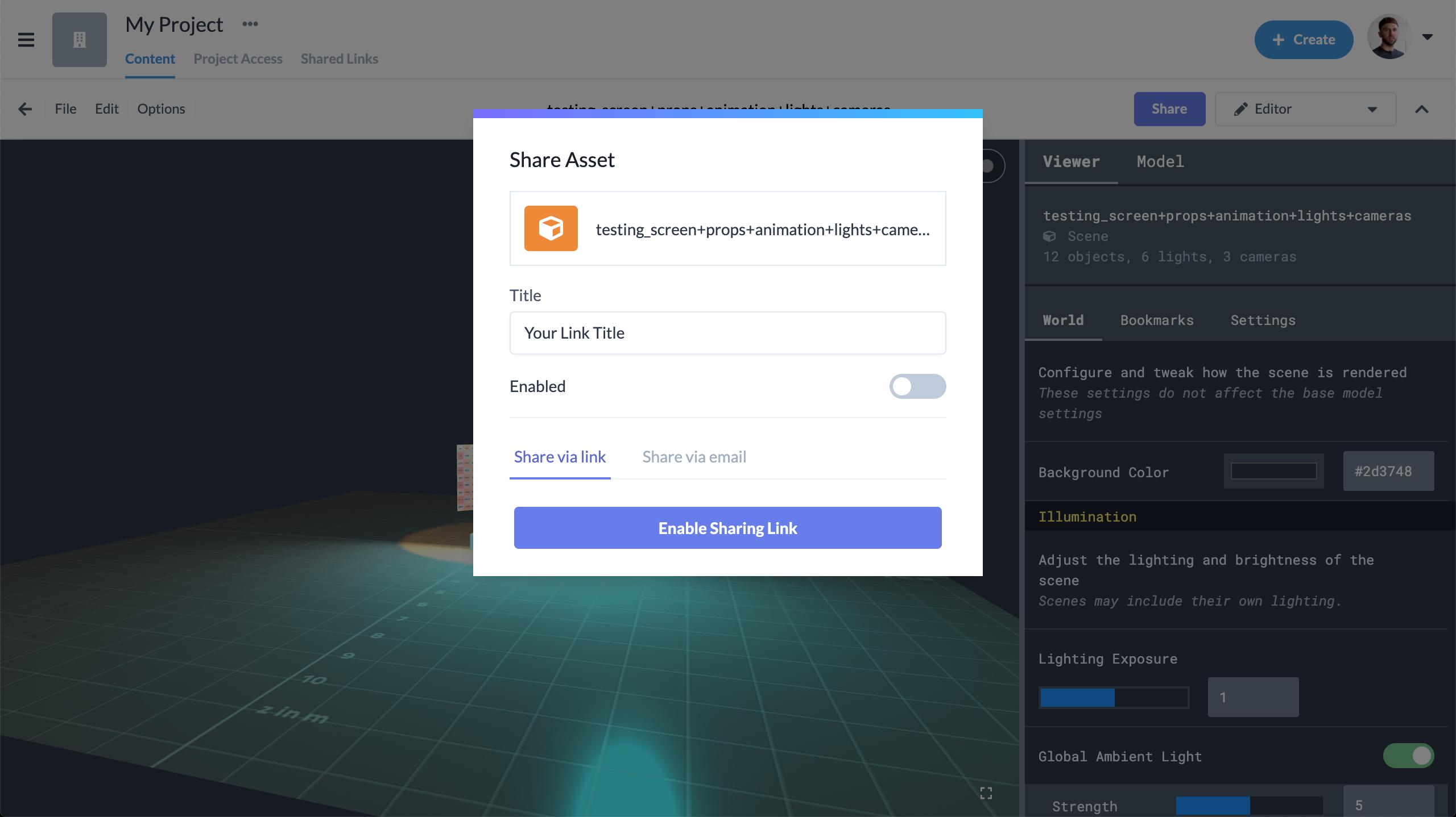 Previz - Create Share Link