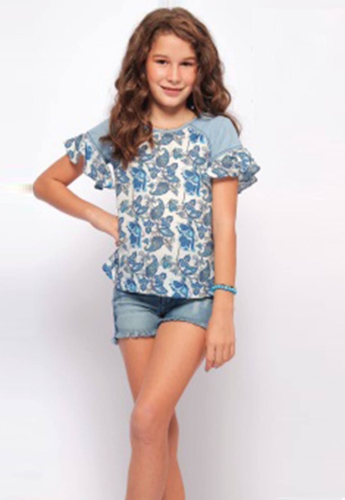 Bata Jeans com Aplique de Tricoline Estampado, um Novo Conceito em Moda Infantil essa Mistura de Tecidos Surpreende