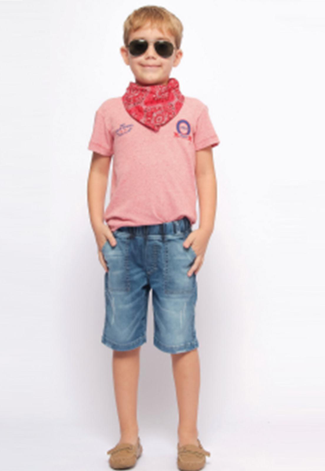 Bermuda Jeans com Puídos e Cós de Elástico Ref. 231