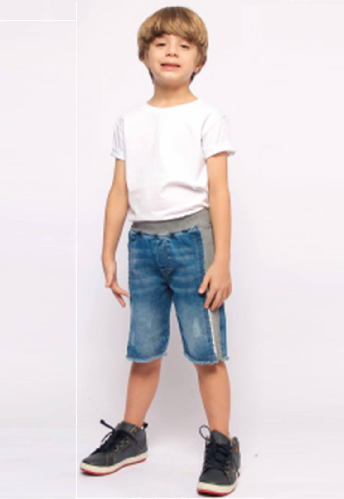 Bermuda Jeans com Ribana no cós e na Lateral Ref. 230