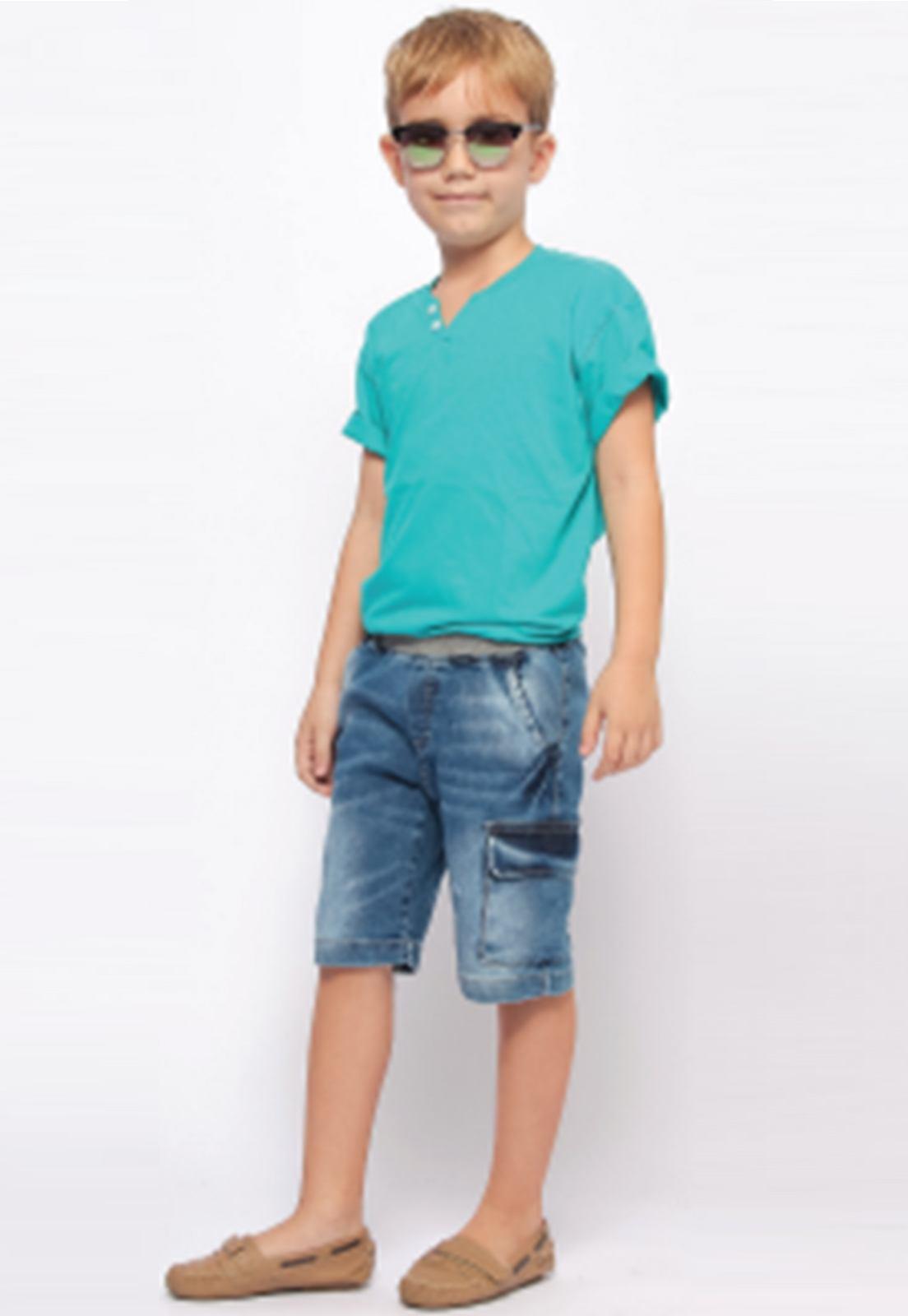 Bermuda Jeans Delavê Básica para Menino Ref. 232