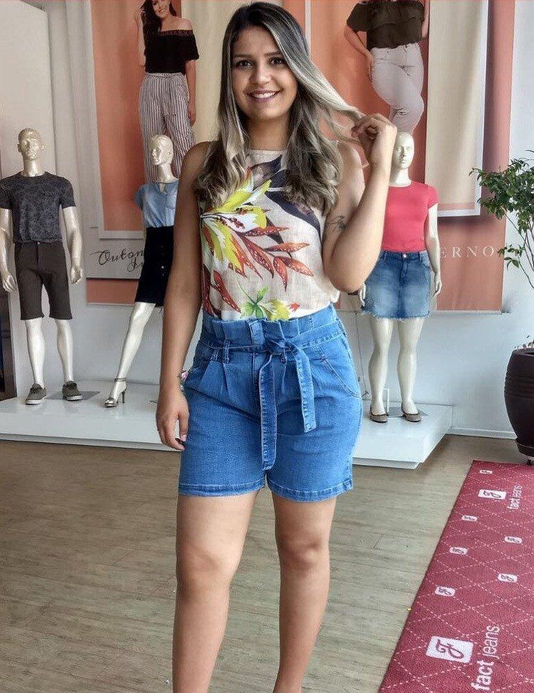 Bermuda Jeans Meia Coxa Clochard Fact Jeans - Plus Size Ref. 04263
