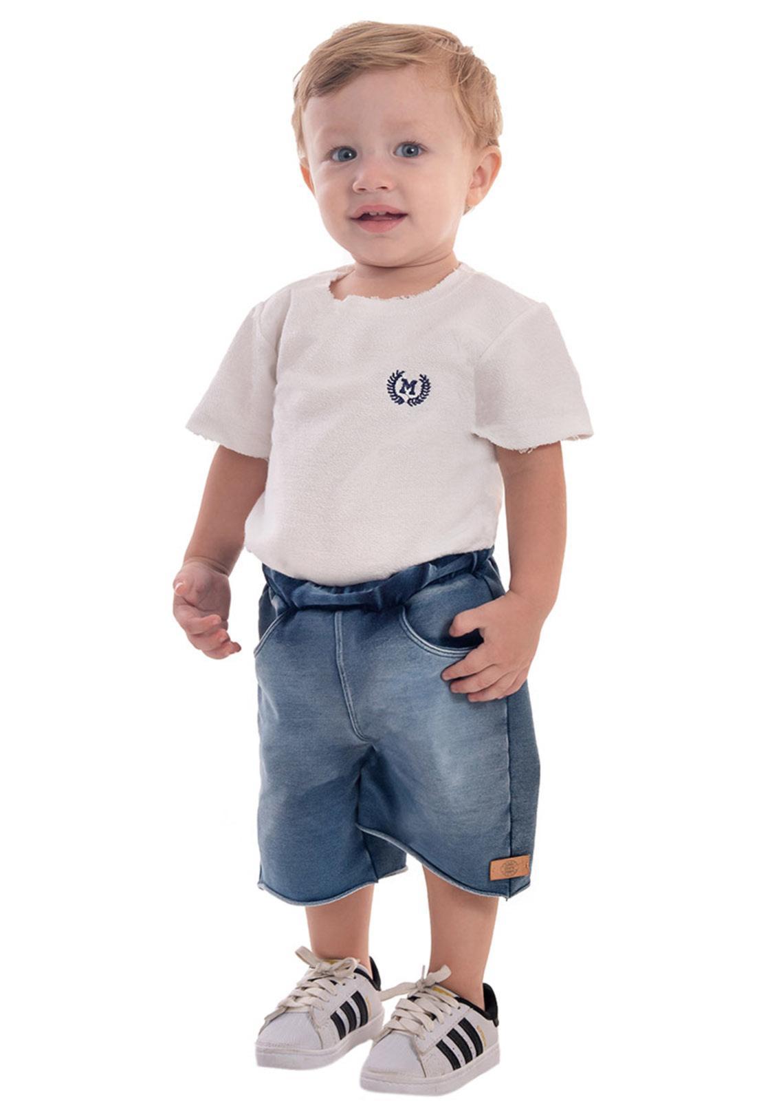 Bermuda Jeans Moletom com Elástico Regulador Super Confort
