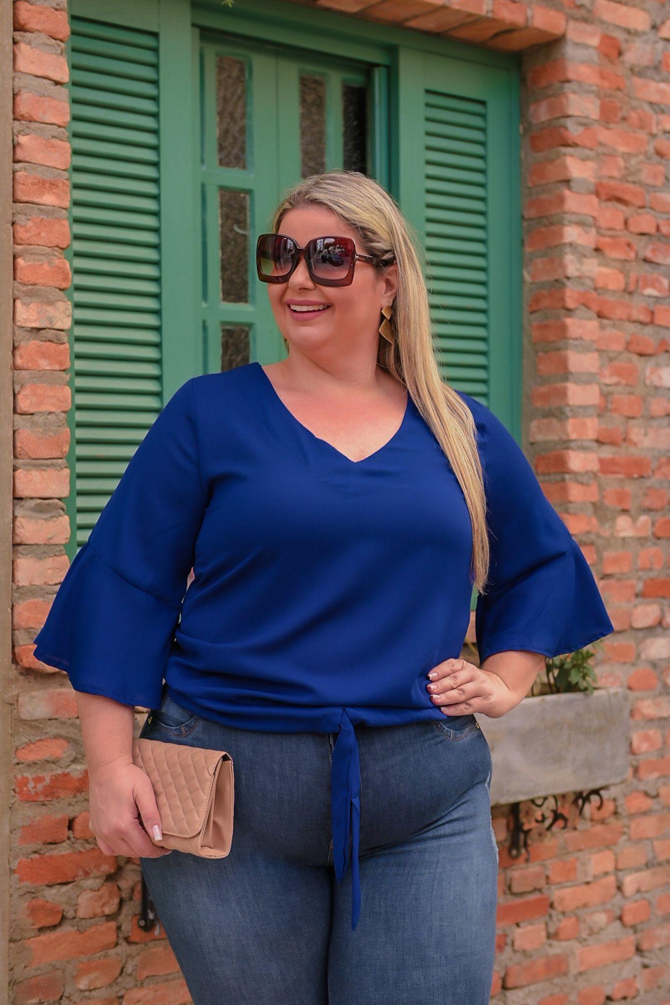 Blusa crepe plus size manga 3\4  boca de sino cordão na cintura - 387