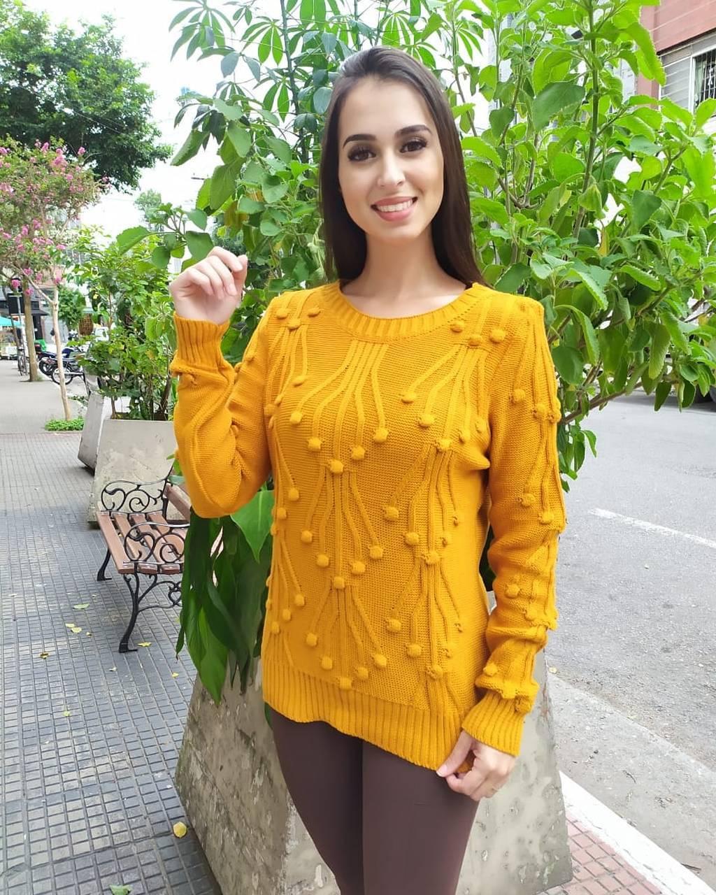 blusa tricot detalhe pompom frente - 1067