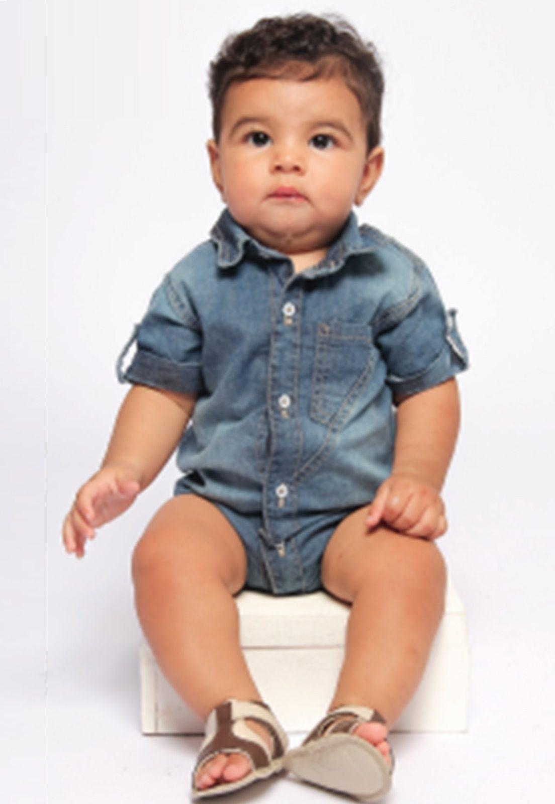 Body Jeans Baby Botão de Pressão e Gola