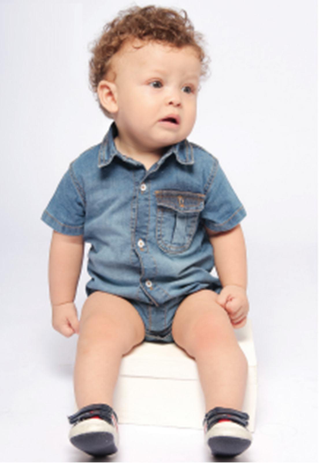 Body Jeans Baby com Bolso Botão de Pressão e Gola