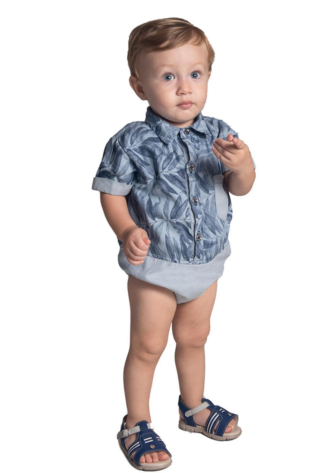 Body Jeans com Estampa Folhagem
