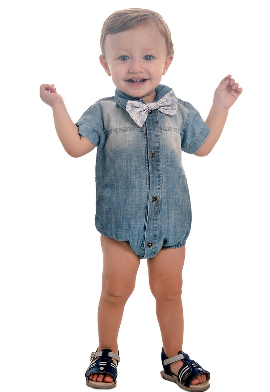 Body Jeans Liso com Gravata Tricoline