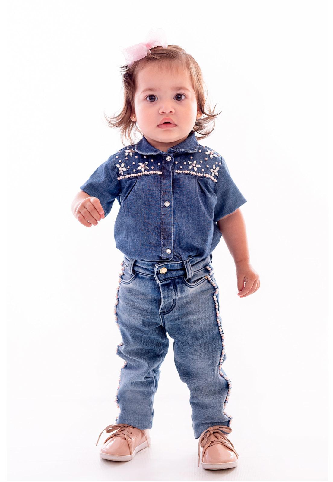 Body Jeans Manga Curta Bordado em Pérolas com Elastano