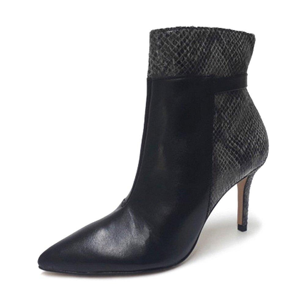 Bota Bico Fino Conceito Fashion 90301 Napa Preta Cobra