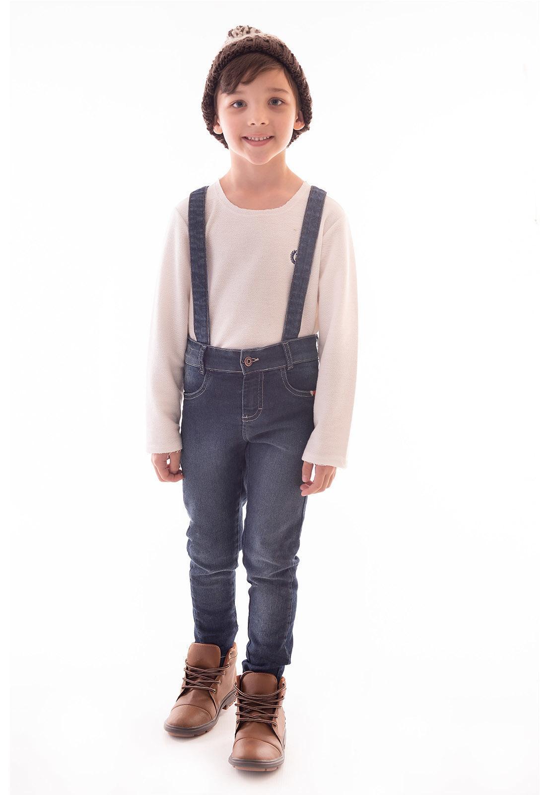 Calça com Suspensório Jeans com Elastano Ref. 515