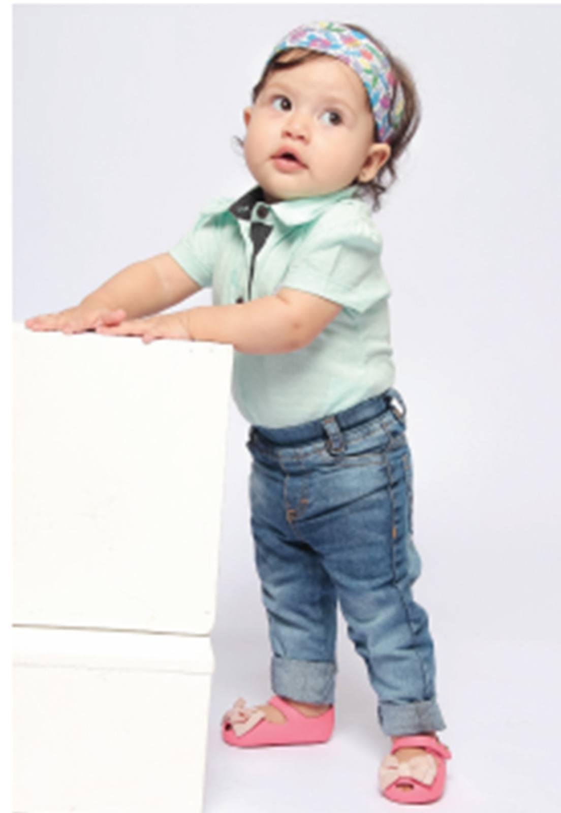 Calça Jeans Bebê Menina Tradicional com Elástico Regulador Ref. 181
