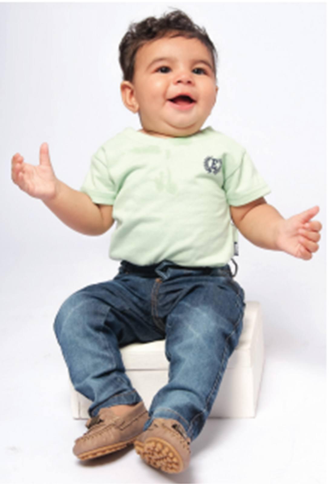 Calça Jeans Bebê tradicional Menino com Elástico Regulador Ref. 182