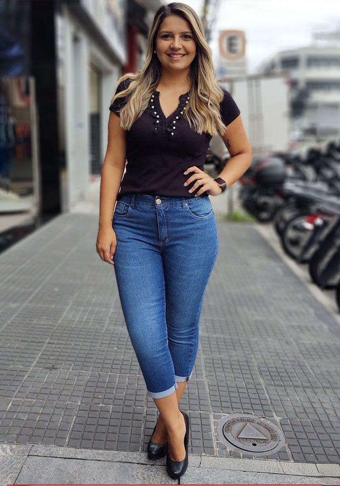 Calça Jeans Capri Feminina Fact Jeans - Plus Size Ref. 04161