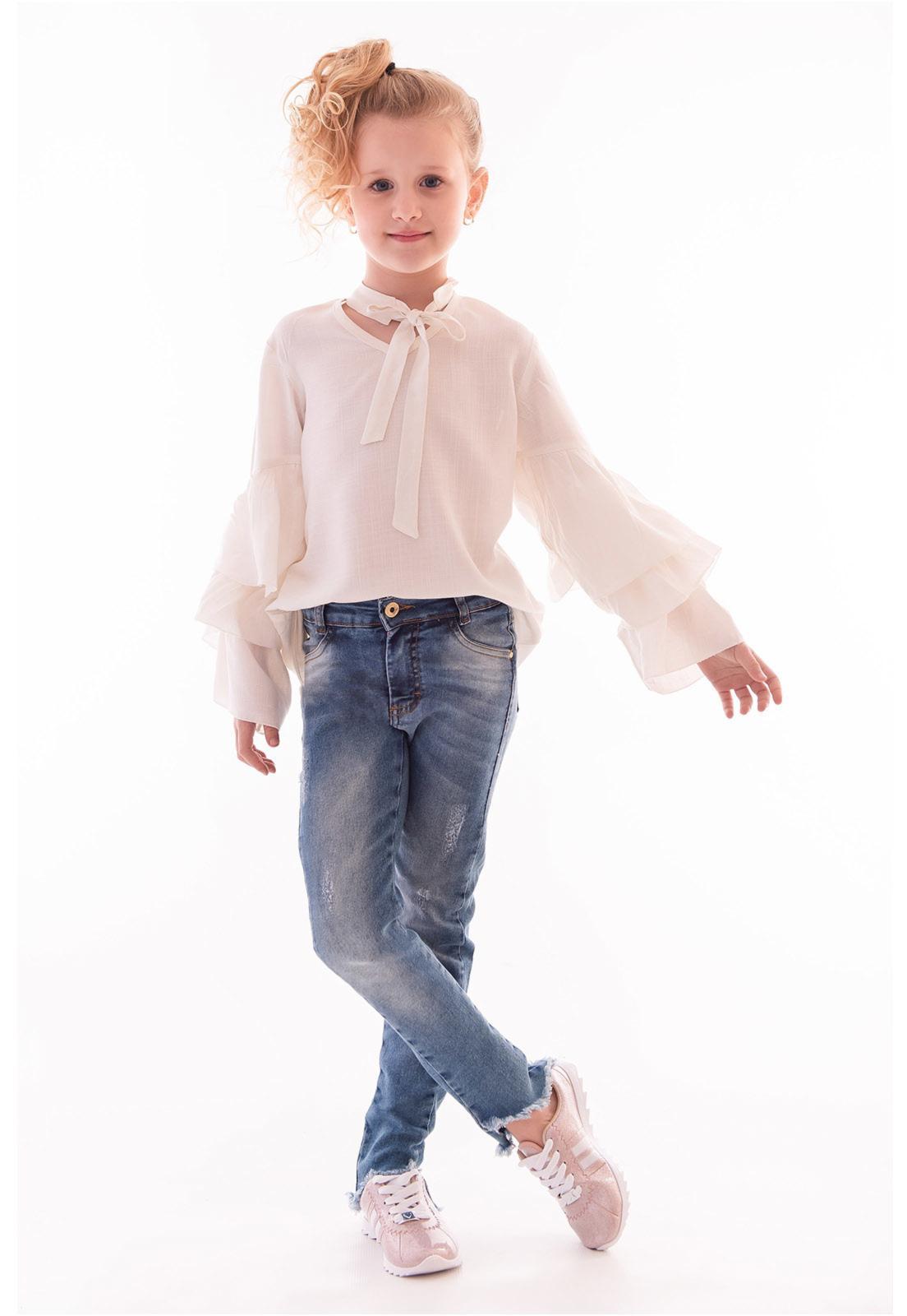 Calça Jeans com Elastano Recorte Barra Mullet Ref. 451