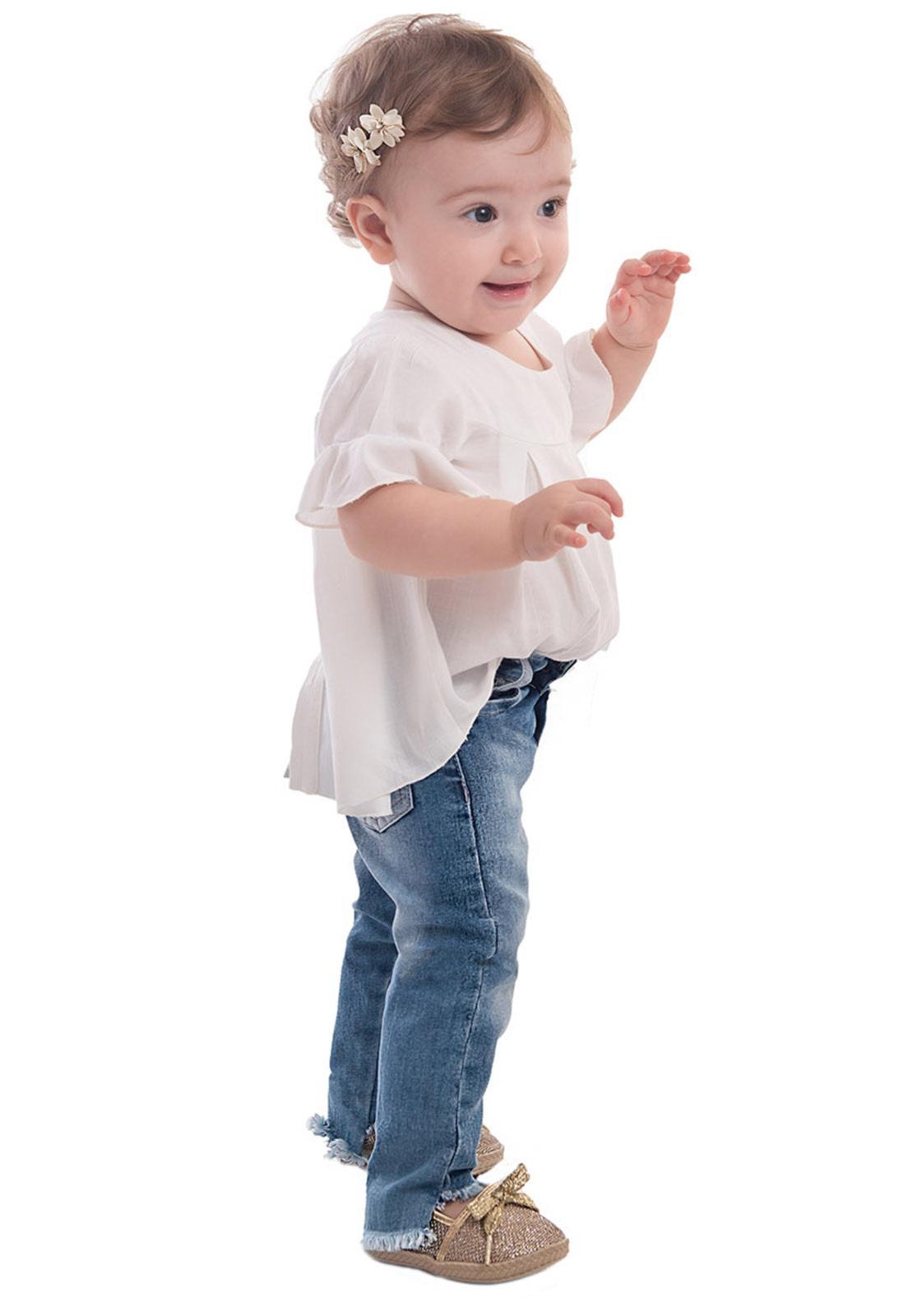Calça Jeans Mullet Elástico na Cintura com Regulador Super Confort