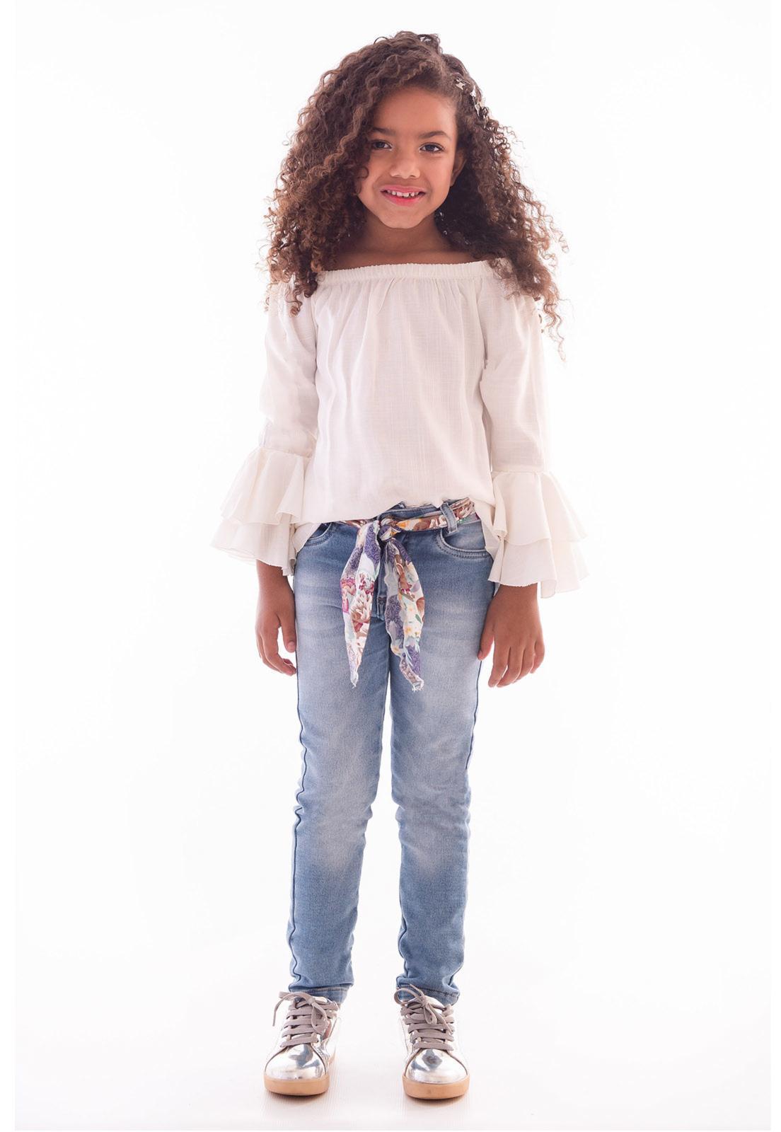 Calça Moletom Jeans Cinto em Viscose Ref. 446