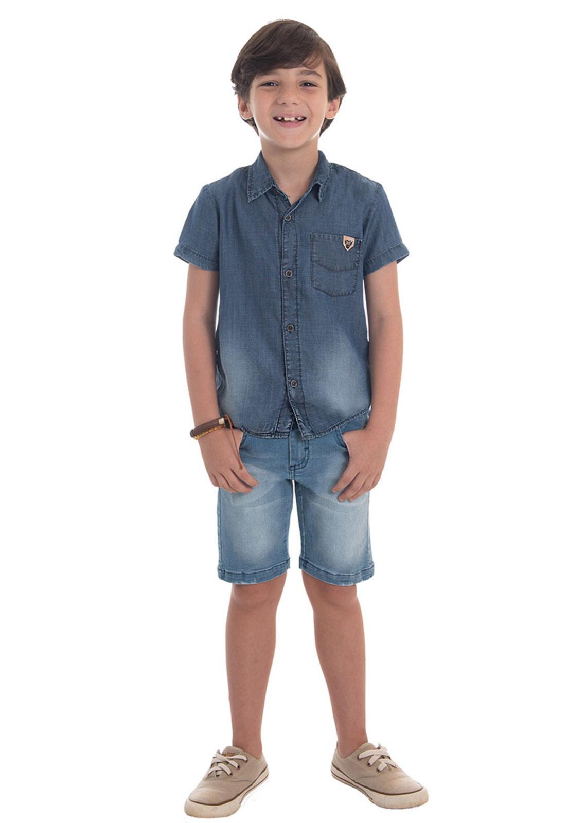 Camisa Jeans 1 Bolso Básica