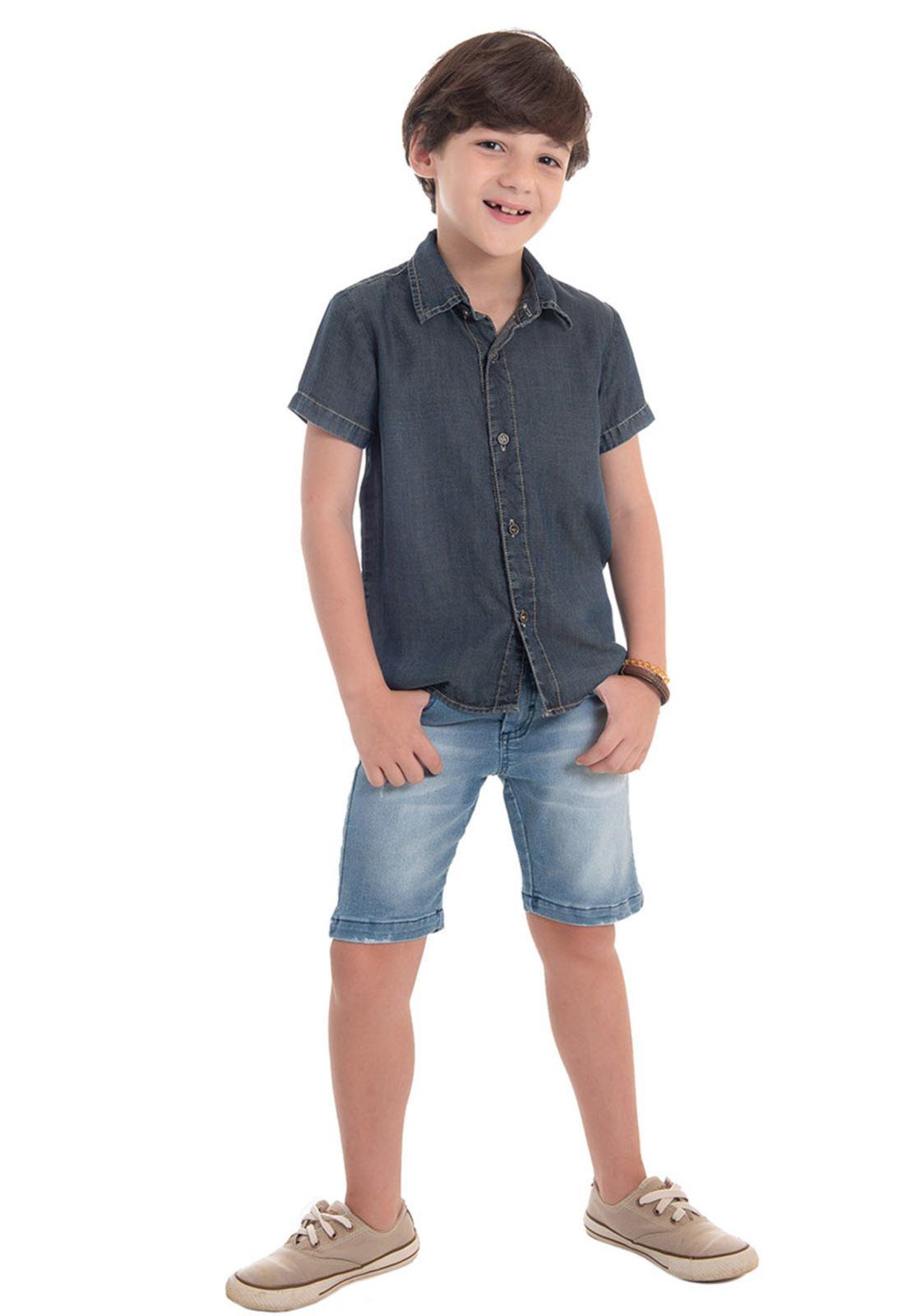 Camisa Jeans  Básica Lavagem Escura