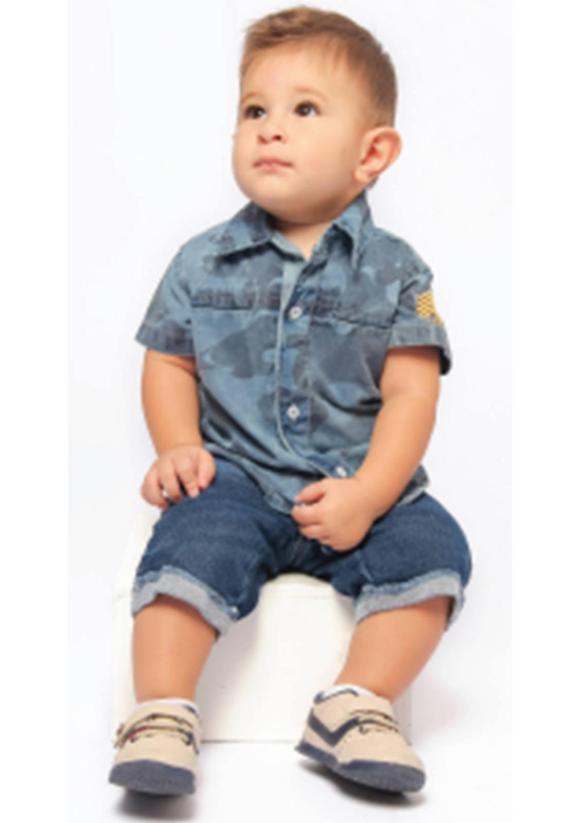 Camisa Jeans Camuflada com Bordado no Ombro Ref. 187