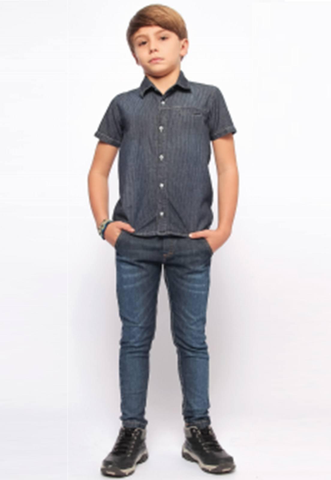 Camisa Jeans Escura para Menino Ref. 245