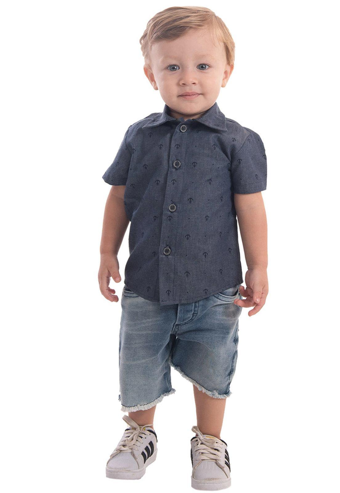 Camisa Jeans Estampa Âncora Ref. 590