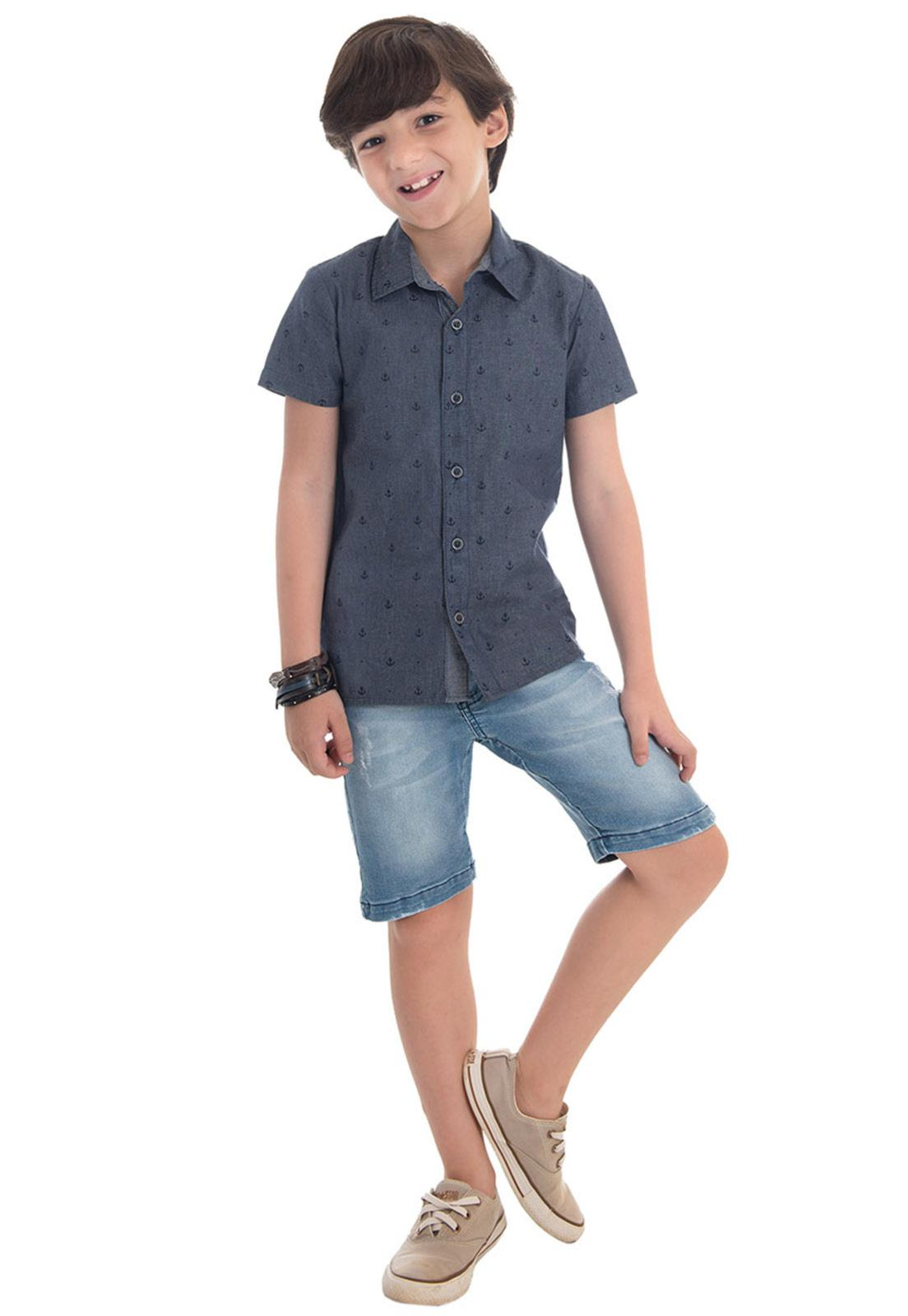 Camisa Jeans Estampa Âncora