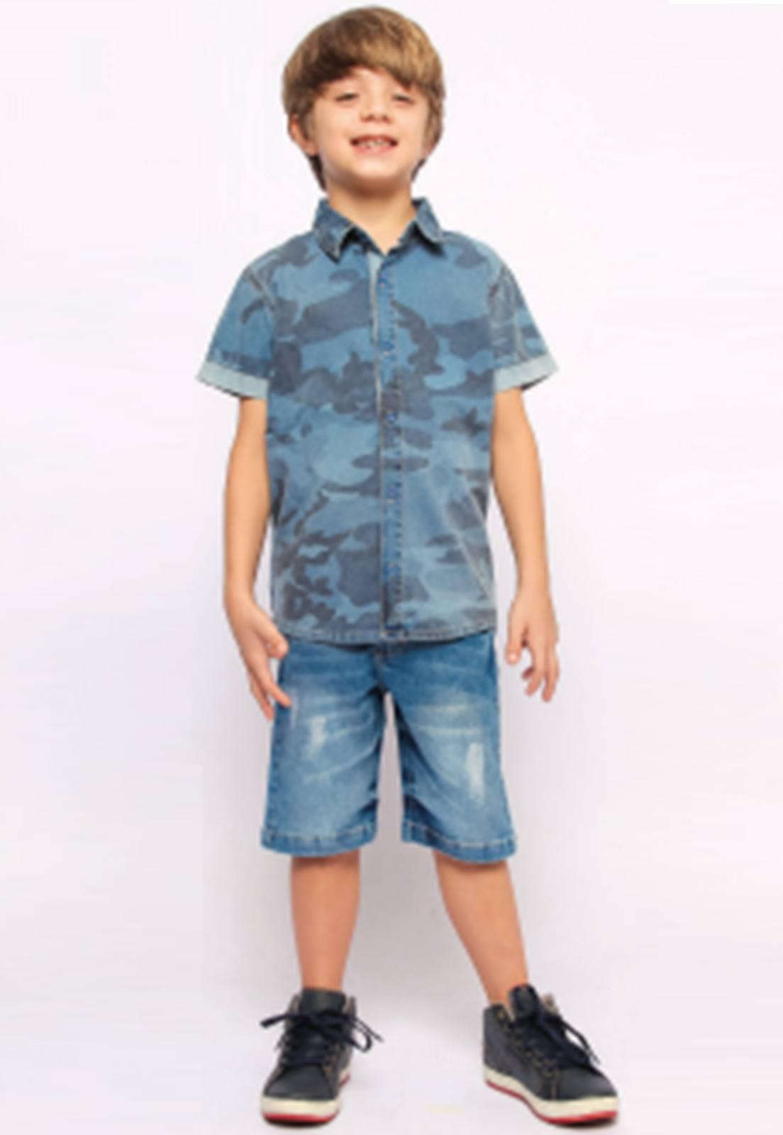 Camisa Jeans Estampa Camuflada Ref. 247