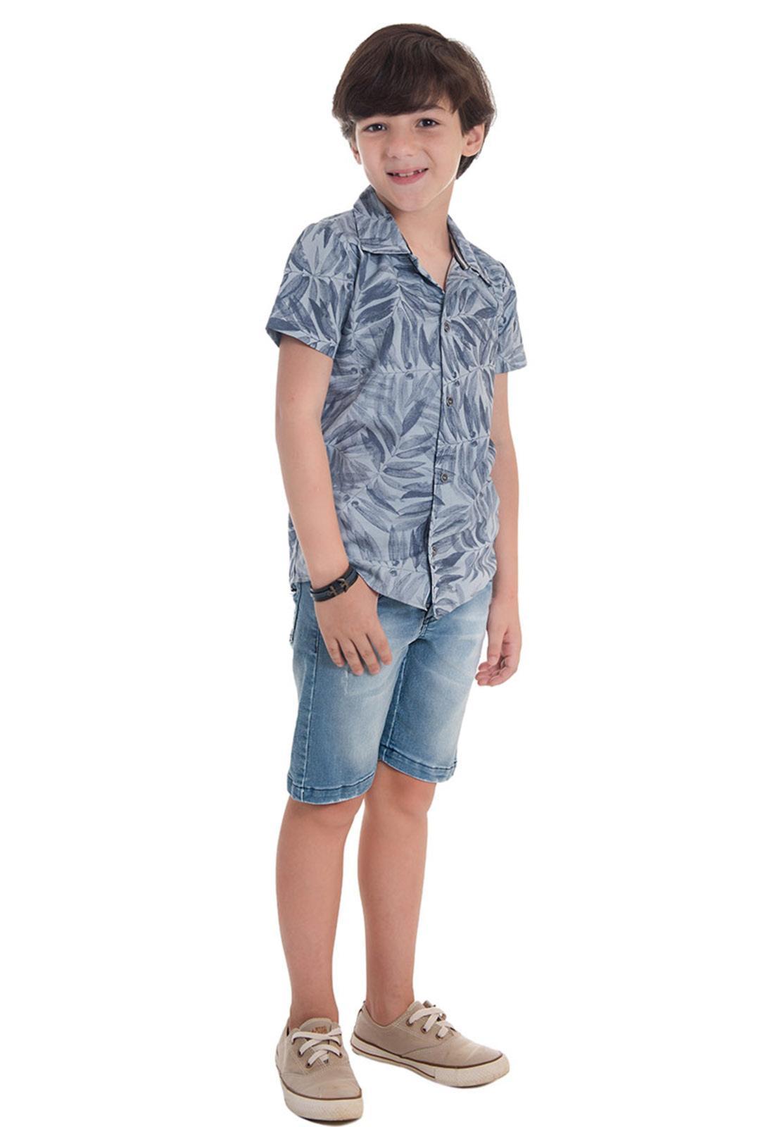 Camisa Jeans Estampa Folhagem